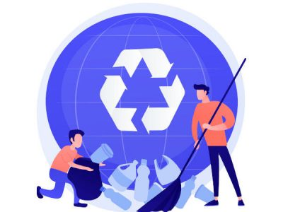 Plastic trash sorting. Recycling and reusing idea. Man gathering plastic bottles. Rubbish container, garbage segregation, ecology protection. Vector isolated concept metaphor illustration